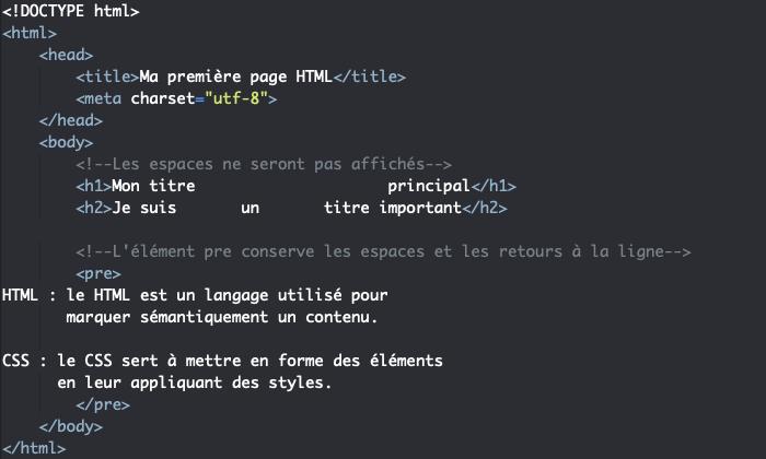 L'élément HTML pre de préformatage