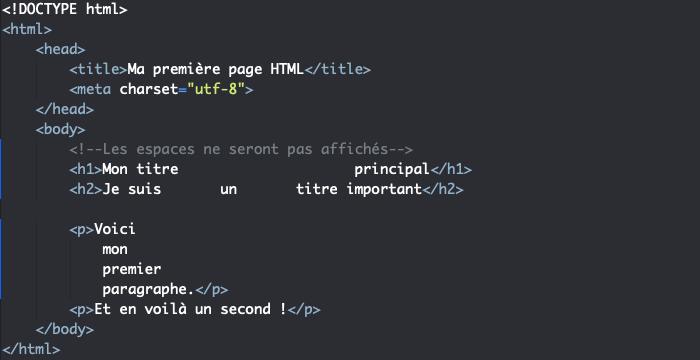 Ajout d'espaces et de retours à la ligne dans le code HTML