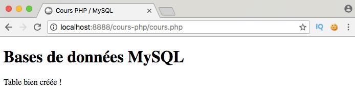 Exemple de script de création de tables dans une base de données avec pdo en php