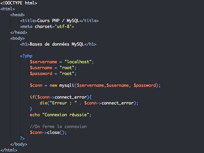 Script de fermeture de la connexion à la base de données en PHP avec mysqli objet