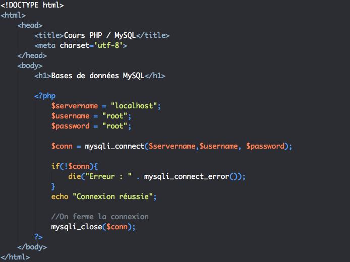 Script de fermeture de la connexion à la base de données en PHP avec mysqli procédural