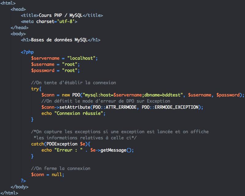 Script de fermeture de la connexion à la base de données en PHP avec pdo