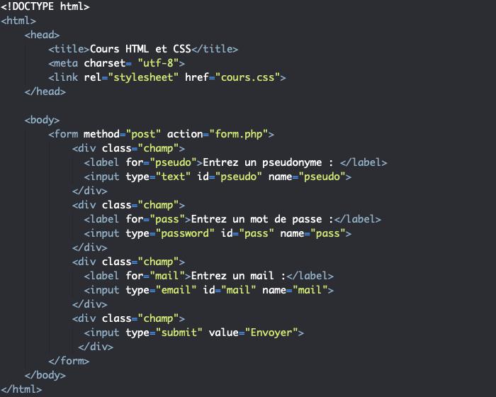 Ajout d'un attribut name aux input de notre formulaire HTML pour récupérer les données