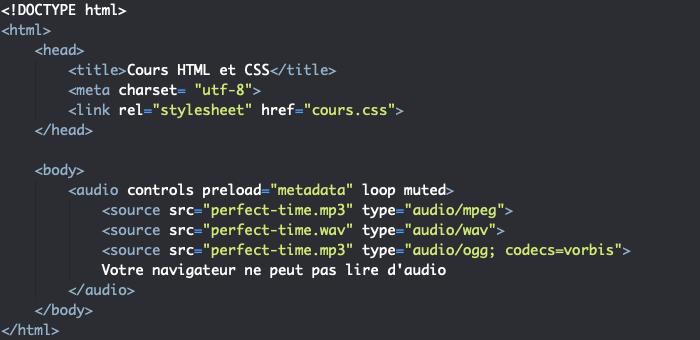 On utilise les attributs de l'élément HTML audio pour personnaliser les options de lecture