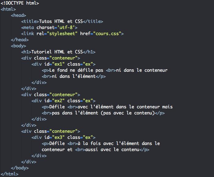 Support HTML pour exemple d'tilisation de la propriété CSS background-attachment
