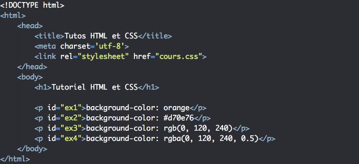 On veut ajouter une couleur de fond en semi transparence à nos éléments HTML