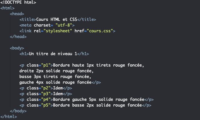 Support HTML création de bordures différentes
