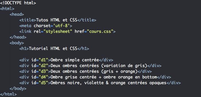 Support HTML pour la création d'ombres avec box-shadow CSS