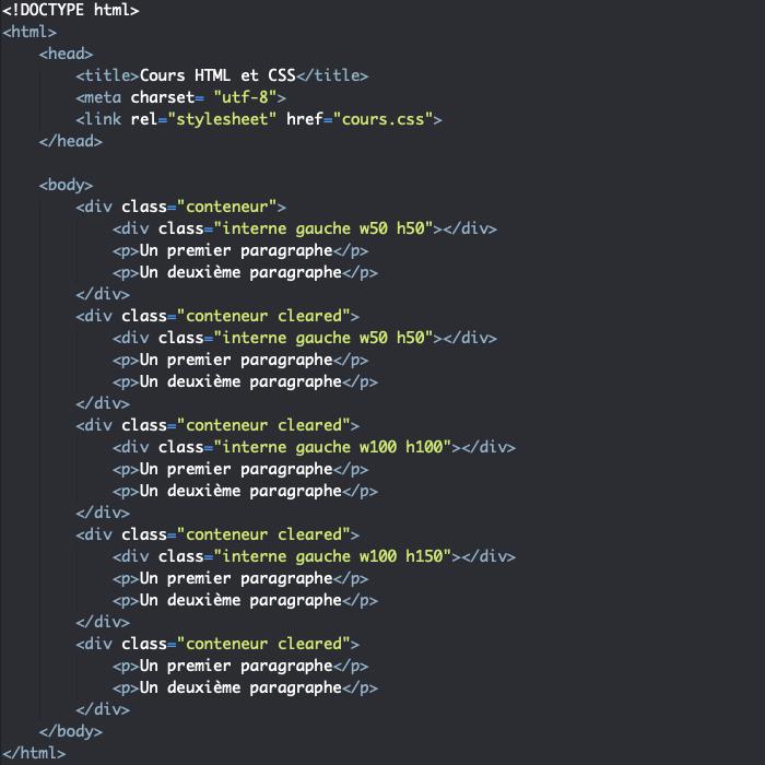 Support HTML pour exemple d'utilisation de clear en CSS