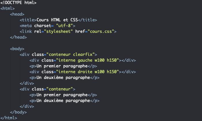 Support HTML pour démonstration du clearfix CSS