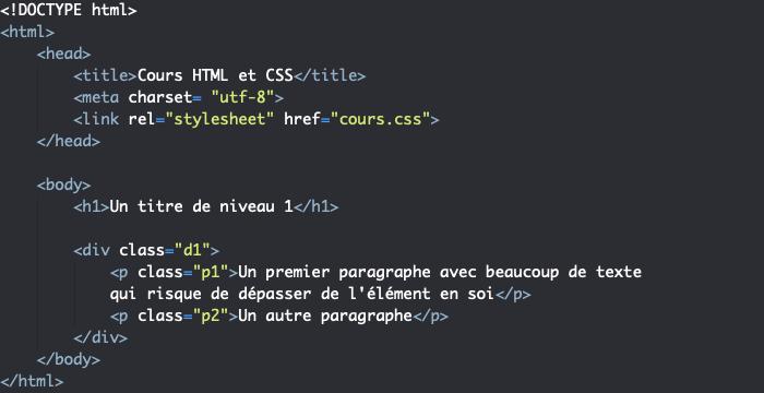 Support HTML exemple de problème de dépassement avec width avec contenu qui sort des bordures