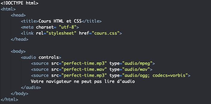 On définit plusieurs formats de fichier audio avec audio et source en HTML