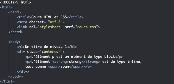 Exemple d'éléments HTML de niveau block