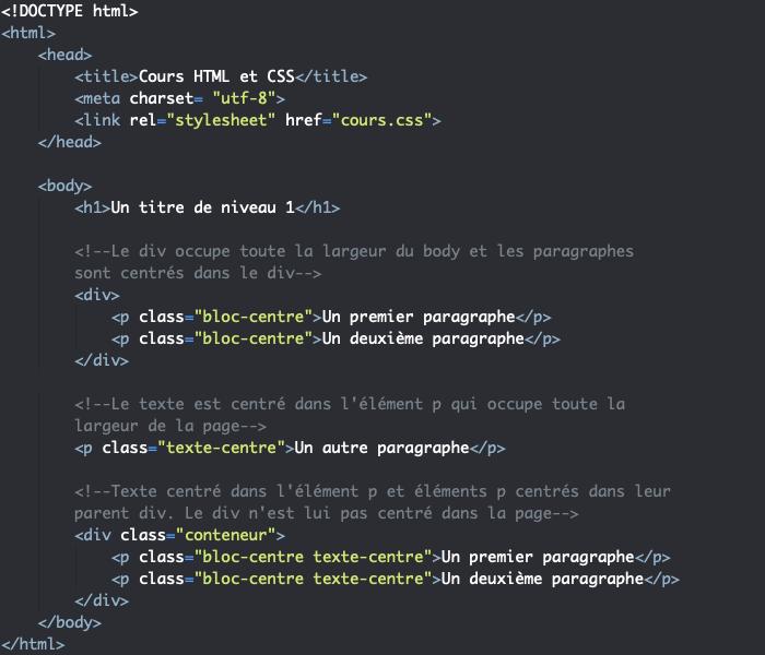 Support HTML pour centrer élément et son contenu avec margin et text-align