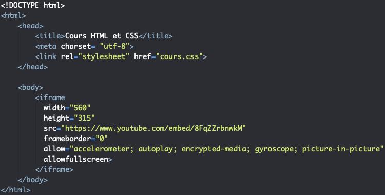 Utilisation de l'élément iframe en HTML pour intégrer des vidéos youtube dans nos pages