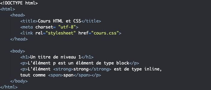 Exemple d'éléments HTML de niveau inline