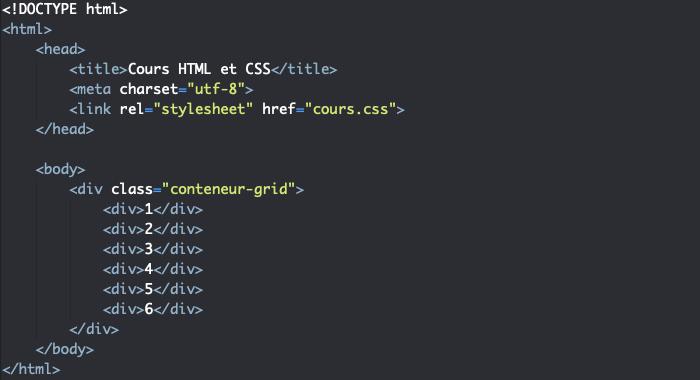 Support HTML pour exemple de création d'une grille CSS