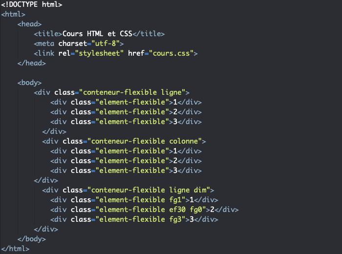 Support HTML pour exemple d'utilisation de la propriété CSS flex-grow dans un contexte flexbox