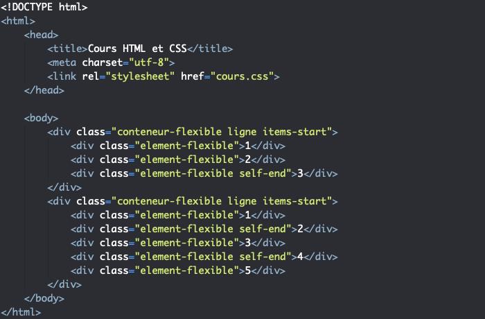 Support HTML pour exemple d'utilisation de la propriété CSS align-self dans un modèle flexbox
