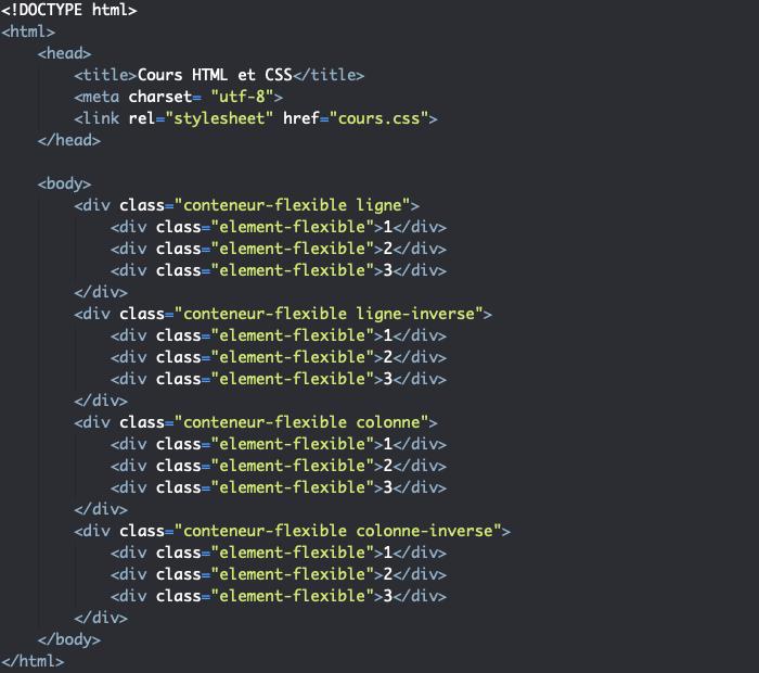 Support HTML pour exemple de disposition des éléments dans un modèle flexbox