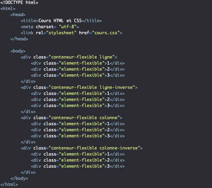 Support HTML pour exemple d'utilisation de la propriété flex-direction