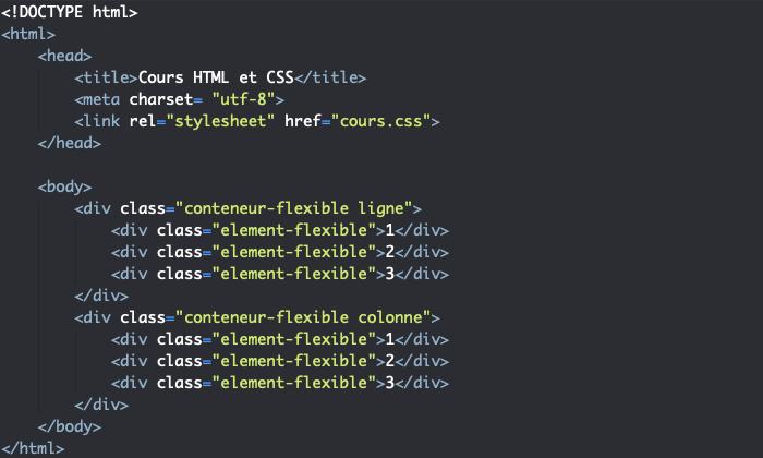 Support HTML pour exemple d'utilisation de flex-flow dans un modèle de boites flexibles
