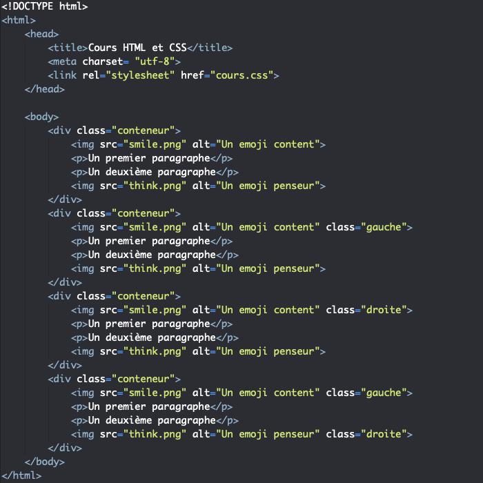 Support HTML démonstration float left right