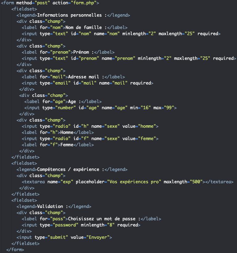 Ajout d'attributs required pattern aidant à sécuriser les formulaires