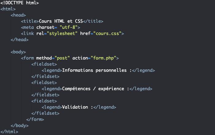 Ajout d'éléments fieldset et legend à notre formulaire form HTML