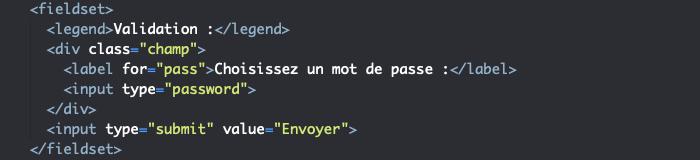 Ajout d'input password et submit à notre élément HTML form