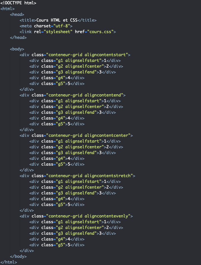 Support HTML pour exemple d'utilisation de la propriété align-content dans une grille CSS