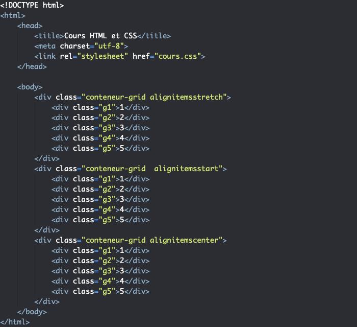 Support HTML pour exemple d'utilisation de la propriété align-items dans une grille CSS