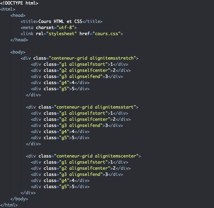 Support HTML pour exemple d'utilisation de la propriété align-self dans une grille CSS