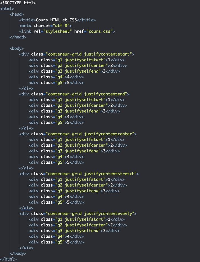Support HTML pour exemple d'utilisation de la propriété justify-content dans une grille CSS