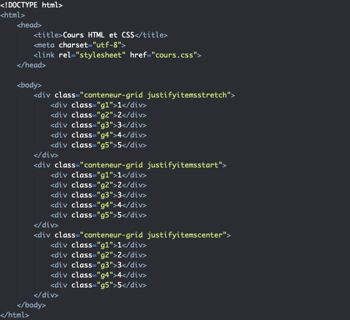 Support HTML pour exemple d'utilisation de la propriété justify-items dans une grille CSS