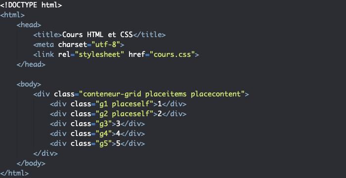 Support HTML pour exemple d'utilisation des propriétés raccourcies place-items place-self et place-content