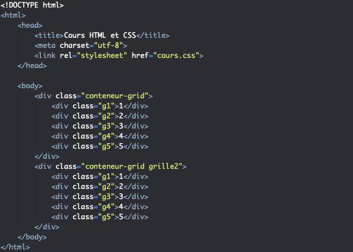 Support HTML pour exemple d'utilisation des propriétés row-gap et column-gap