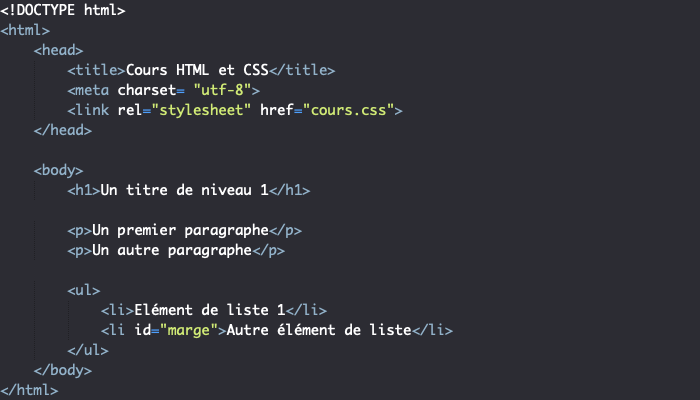 Support HTML pour illustration de la notion d'héritage en CSS