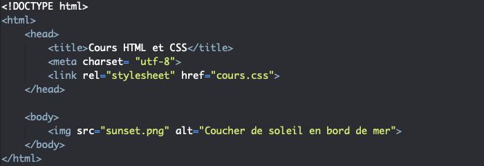 Utilisation de l'élément img pour insérer une image en HTML