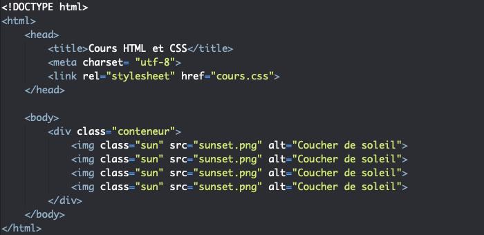 Insertion de 4 images identiques en HTML