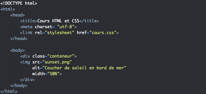 On insère une image en HTML avec l'élément img et les attributs src et alt