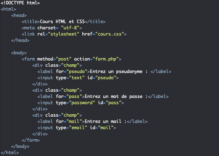 Utilisation d'un élément label avec un input dans un formulaire HTML
