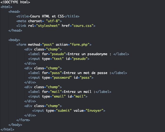 Bouton d'envoi du formulaire HTML input type submit et attribut value