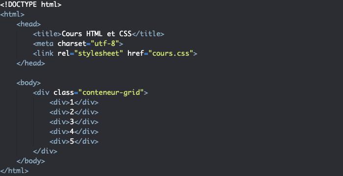 Support HTML pour exemple de définition d'intervalle de taille pour les lignes et colonnes d'une grille