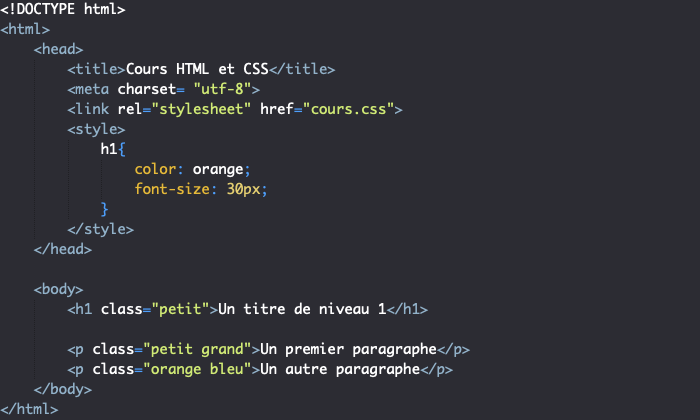 Définition d'attributs HTML pour créer un conflit de style