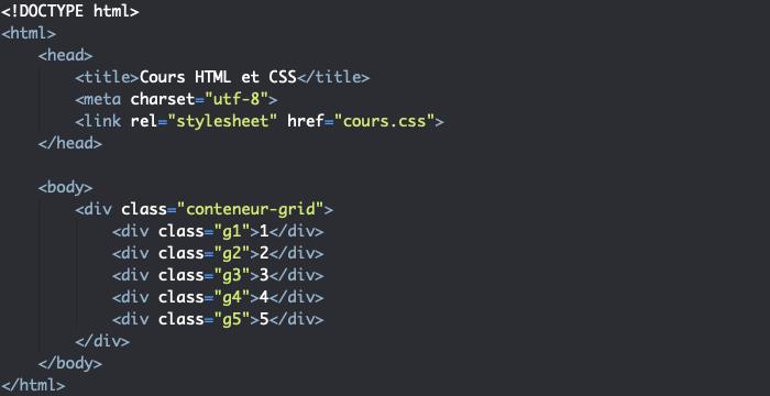 Support HTML pour exemple de positionnement automatique d'éléments dans une grille CSS