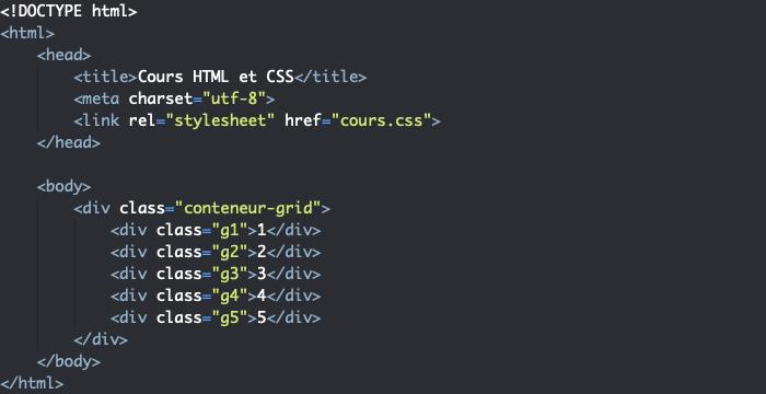 Support HTML pour exemple de positionnement d'éléments dans une grille CSS grid