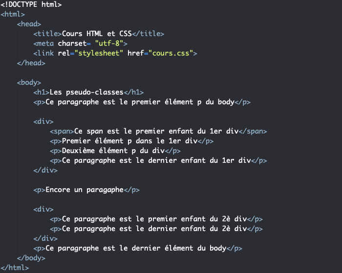 Support HTML pour exemple d'utilisation des pseudo classes first-child last-child first-of-type