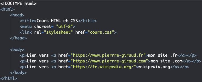 Support HTML pour exemple d'utilisation de sélecteurs CSS d'attributs