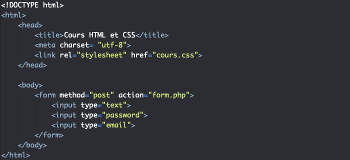 Création d'un formulaire HTML simple avec form et input